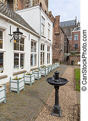Courtyard in old Dutch medieval city of Utrecht