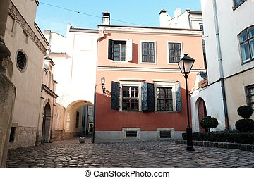 Courtyard in the city. Street in the city of Lviv Ukraine 03.15.19
