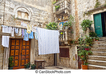 Courtyard in Trogir - Croatia.