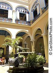 courtyard., jellegzetes, kuba