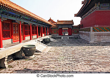 courtyard of a pavilion in forbidden city, Beijing, China -...