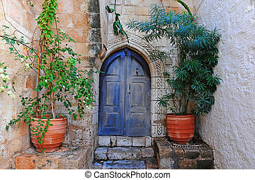 Courtyard of a Typical Greek Houses on the Island of Rhodes
