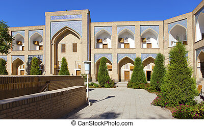 courtyard of ancient madrasah. Uzbekistan. Khiva.