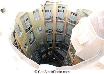 courtyard of Casa Mila - By Gaudi, Barcelona