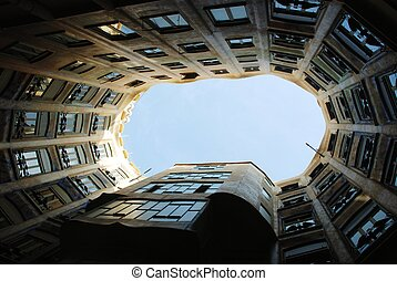 courtyard of Casa Mila - Barcelona, Gaudi