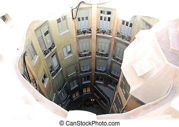courtyard of Casa Mila - By Gaudi, Barcelona