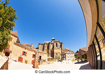 Courtyard of Chateau de Biron, France, Europe