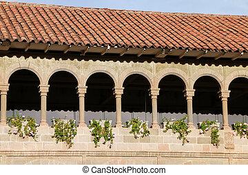 Courtyard of Convent of Santo Domingo in Koricancha complex, Cusco, Peru