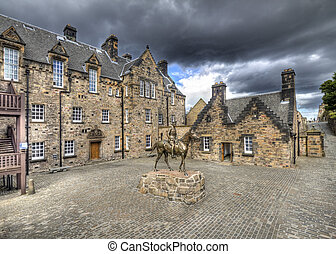 Courtyard of Edinburgh Castle - Statue of Field Marshal...