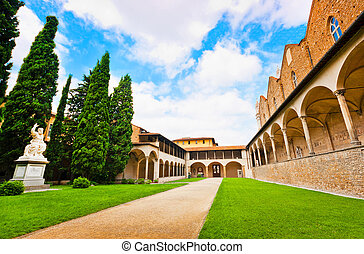 Courtyard of famous Basilica di Santa Croce in Florence, Italy