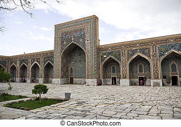 Courtyard of Madrasah Tilla-Kari on Registan Square in...