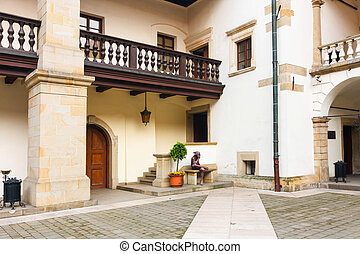 Courtyard of Niepolomice Castle, Poland