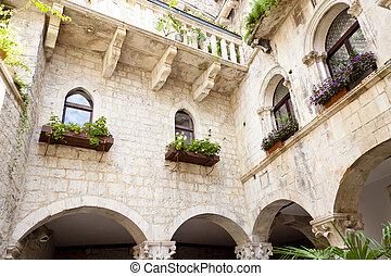 Courtyard of tenement house - Trogir, Croatia.