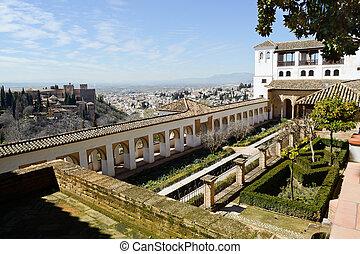 Courtyard of the acequia in Generalife, Alhambra, Granada,...
