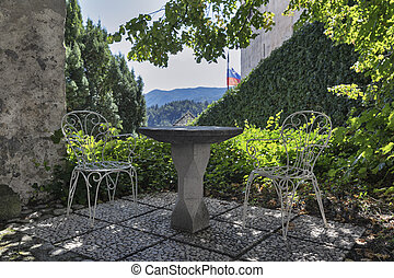 courtyard of the Bled Castle, Slovenia