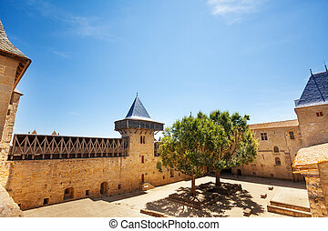 Courtyard of the Count's Castle in Carcassonne
