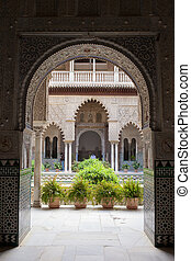 Courtyard of the Dolls in Alcazar of Seville - Arched...