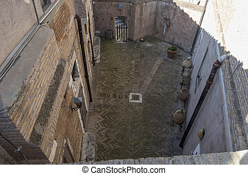 Courtyard of the house in Rome top view.