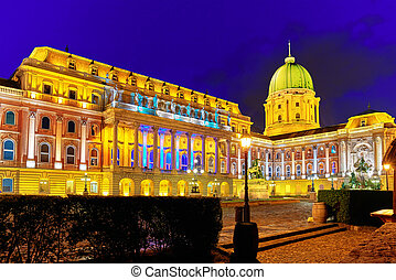 Courtyard of the Royal Palace in Budapest. Night time. Hungary.