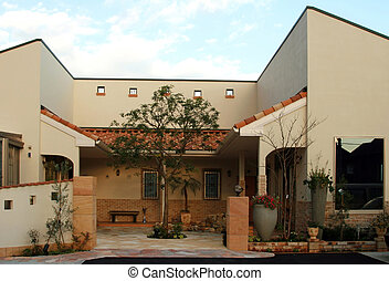 Courtyard - The courtyard of a newly constructed Spanish ...