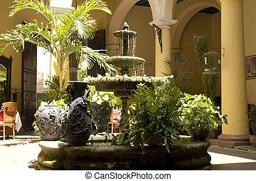 courtyard., typique, cuba