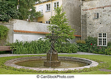 Courtyard with a fountain in a northern european town