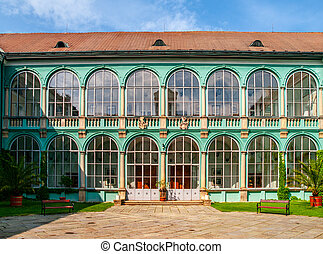 Courtyard with glazed windows of renaissance chateau in Dacice, Czech Republic