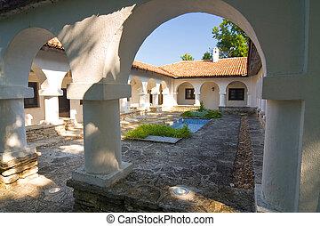 Courtyard with swimming pool, Gardens in Balchik, Bulgaria