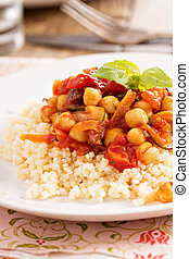 Cous-cous with healthy chickpea and vegetable stew