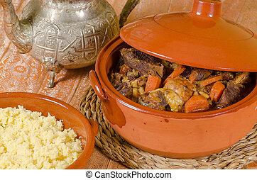 Couscous closeup - Closeup take of fresh couscous in...