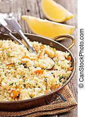 couscous, con, verdura