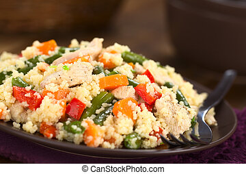 Couscous with Chicken, Green Bean, Carrot and Bell Pepper -...