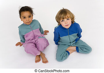 Cousins Together - A beautiful mixed race little girl and a...