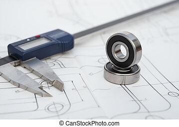 coussinet, ingénierie, dessin, calibre, mécanique