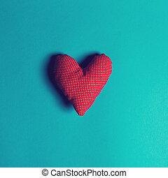 coussins, coeur, bleu, fait main