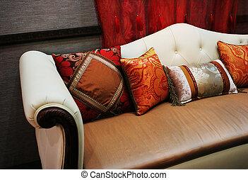 coussins, coloré, moderne, sofa