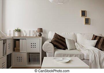 coussins, sofa, blanc, brun