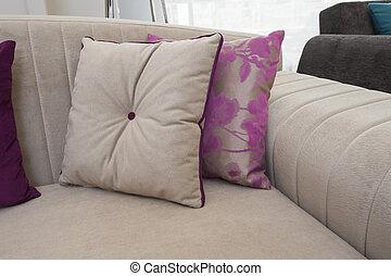 coussins, sofa, closeup
