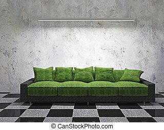 coussins, sofa, vert