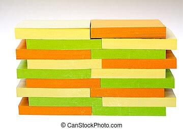 coussins, stickynotes, coloré