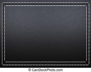 cousu, cuir, cadre, arrière-plan noir