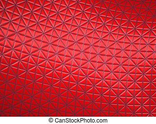 cousu, modèle, triangle, tissu, rouges