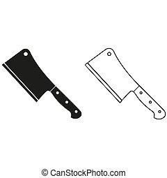 couteau, couperet, -, vert, vecteur, viande, icône