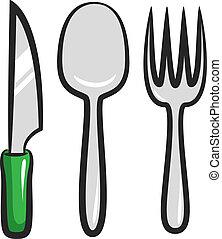 couteau, cuillère, fourchette