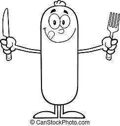couteau, fourchette, saucisse