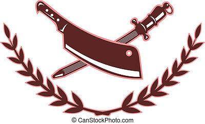 couteau, isolé, aiguisoir, boucher, lame, blanc