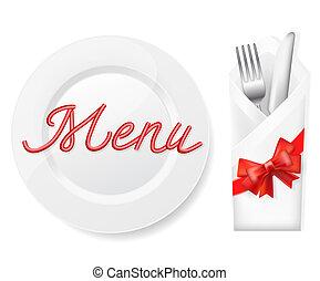 couteau, menu, fourchette, plaque, enveloppe