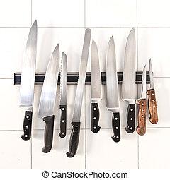 couteaux, magnétique, support