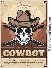 couteaux, traversé, chapeau, crâne, cow-boy