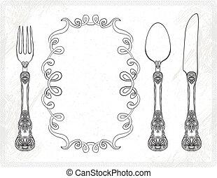coutellerie, vecteur, fourchette, couteau, cuillère